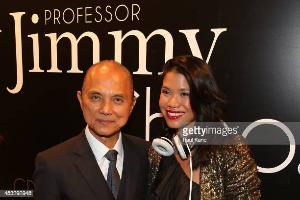 Jimmy Choo poses with a guest after officially opening The Story of Professor Jimmy Choo OBE at Claremont Quarter on August 7 2014 in Perth Australia