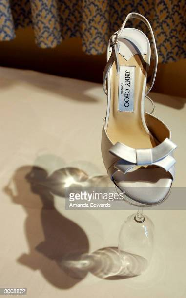 Jimmy Choo shoe sits on display at the Jimmy Choo annual Oscar / Collection Preview Tea at the Peninsula Hotel on February 23 2004 in Beverly Hills...