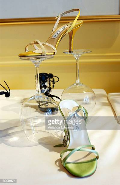 Jimmy Choo shoes sit on display at the Jimmy Choo annual Oscar / Collection Preview Tea at the Peninsula Hotel on February 23, 2004 in Beverly Hills,...