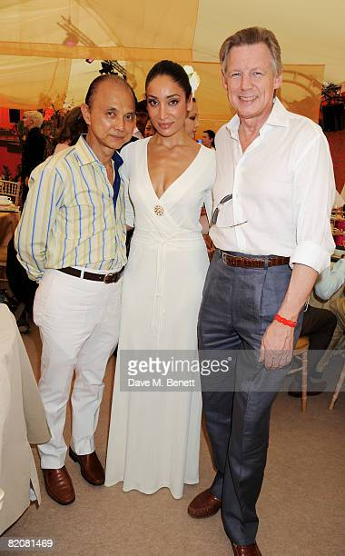 Jimmy Choo, Sofia Hayat and John Stevens attend the Chinawhite Rock The Polo Party during the annual Cartier International Polo Day, at the...