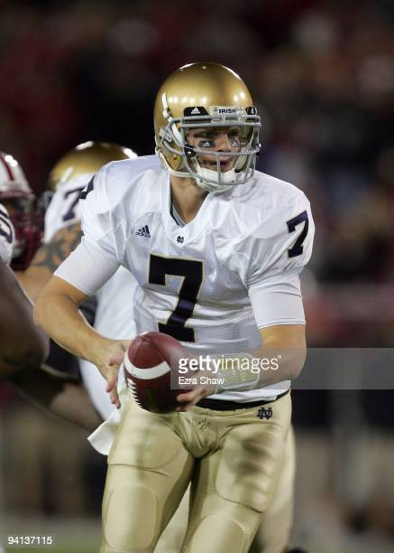 Jimmy Clausen of the Notre Dame Fighting Irish in action during their game against the Stanford Cardinal at Stanford Stadium on November 28 2009 in...