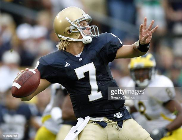 Jimmy Clausen of the Notre Dame Fighting Irish throws a first quarter pass while playing the Michigan Wolverines on September 13 2008 at Notre Dame...