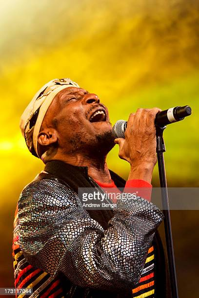 Jimmy Cliff performs on stage on Day 3 of Beatherder Festival 2013 at Ribble Valley on July 6 2013 in Clitheroe England