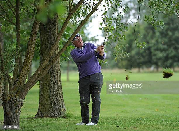 Jimmy Clynch takes a shot during the final day of the PGA Super 60's Tournament at the De Vere Belton Woods Golf Club on September 13 2012 in...