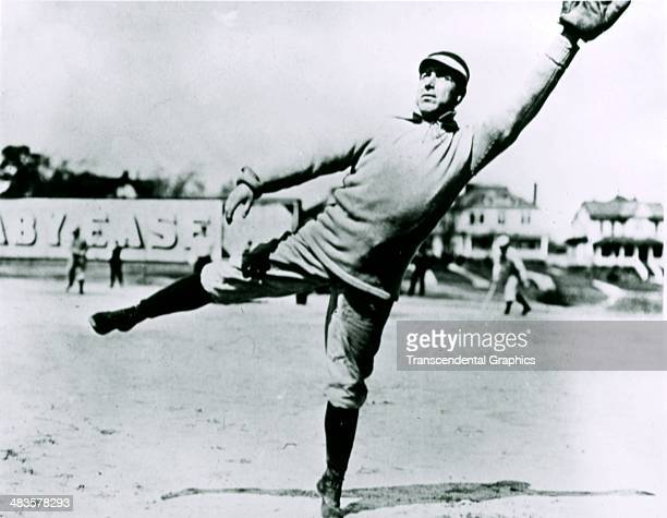 Jimmy Collins of the Boston Red Sox leaps for a throw at the Huntingdon Avenue Grounds in Boston Massachusetts
