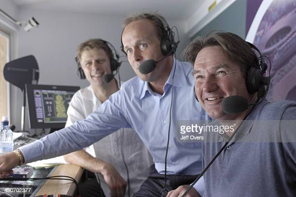 Jimmy Connors a former Wimbledon champion seen in the BBC commentary box at Centre Court with former British tennis players John Lloyd and Andrew...