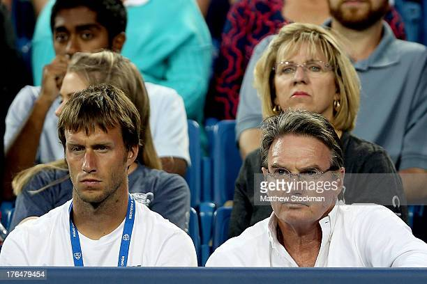 Jimmy Connors coaches Maria Sharapova of Russia as she plays Sloane Stephens during the Western Southern Open on August 13 2013 at Lindner Family...