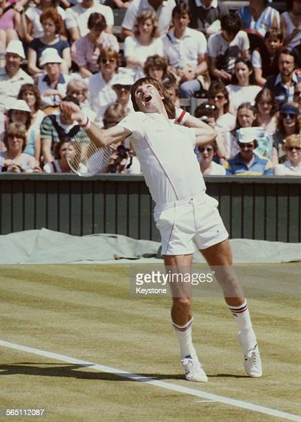 Jimmy Connors of the United States during a Men's Singles match at the Wimbledon Lawn Tennis Championship on 26 June 1983 at the All England Lawn...