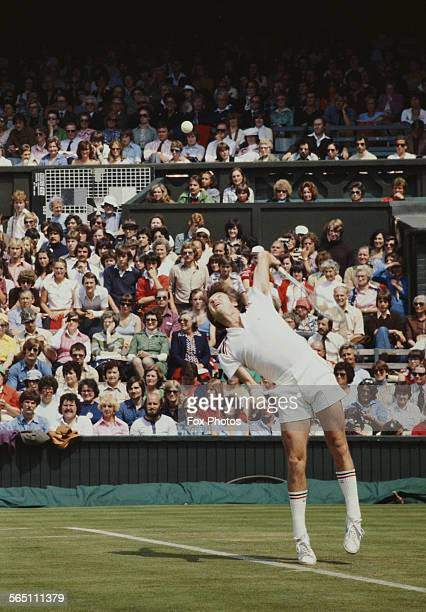 Jimmy Connors of the United States during the Men's Singles Final match against Bjorn Borg of the Sweden at the Wimbledon Lawn Tennis Championship on...