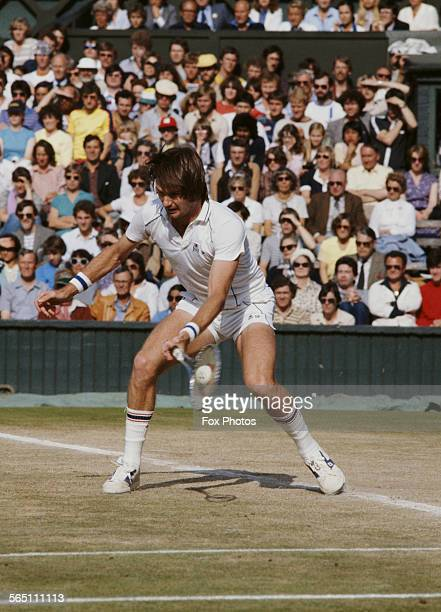 Jimmy Connors of the United States during the Men's Singles Semi Final match against Bjorn Borg of the Sweden at the Wimbledon Lawn Tennis...