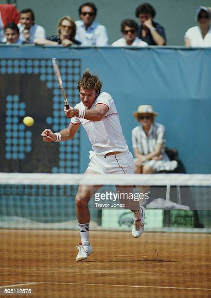 Jimmy Connors of the United States during the Men's Singles Semi Final match at the French Open Tennis Championship on 7 June 1985 at the Stade...