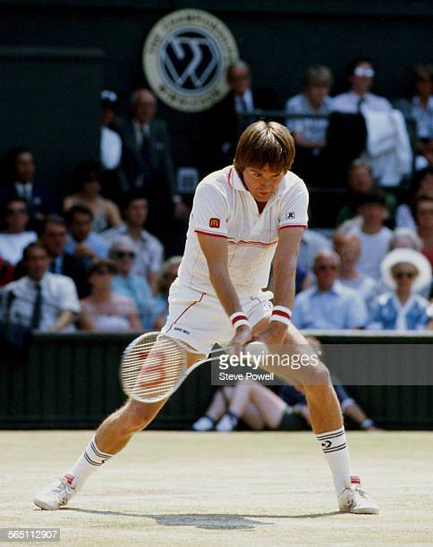 Jimmy Connors of the United States during the Men's Singles Semi Final match at the Wimbledon Lawn Tennis Championship on 5 July 1985 at the All...