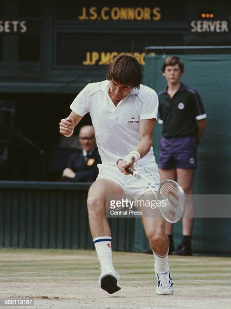 Jimmy Connors of the United States during the Men's Singles Semi Final match against John McEnroe at the Wimbledon Lawn Tennis Championship on 4 July...
