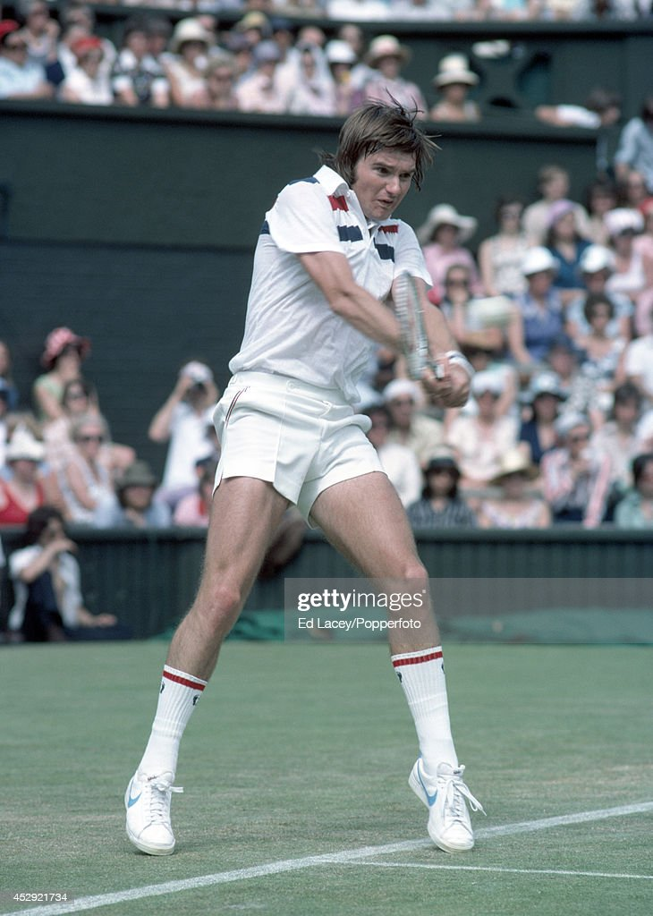 Jimmy Connors of the United States in action at Wimbledon on 23rd June 1976. Connors, seeded second, lost in the Quarter-finals to Roscoe Tanner.