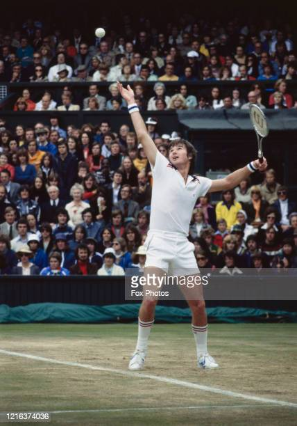 Jimmy Connors of the United States serves to Bjorn Borg during their Men's Singles Final match at the Wimbledon Lawn Tennis Championship on 8th July...
