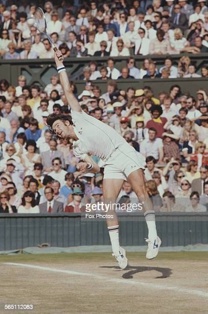 Jimmy Connors of the United States serves to Bjorn Borg of the Sweden during the Men's Singles Semi Final match at the Wimbledon Lawn Tennis...