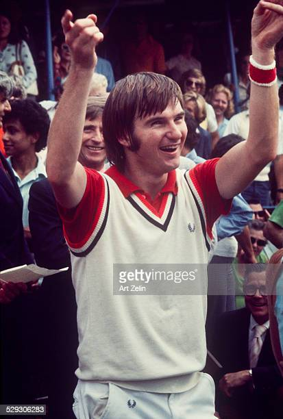 Jimmy Connors playing at the 8th Annual RFK ProCelebrity Tennis Tournament Flushing Meadows Park circa 1970 New York