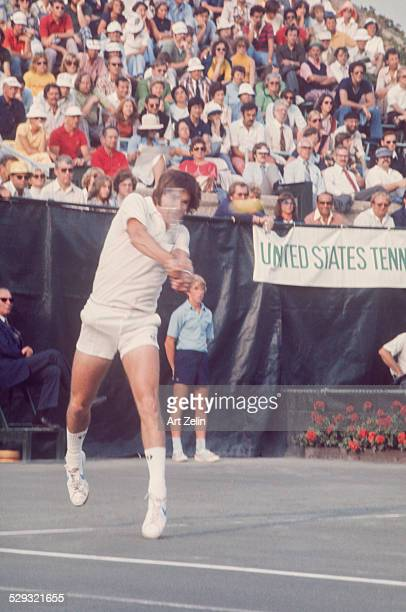 Jimmy Connors returning a volley at a tennis match circa 1970 New York