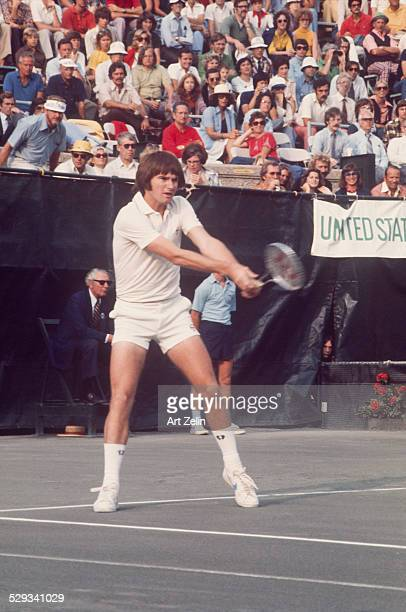 Jimmy Connors returning a volley in a tennis match circa 1970 New York