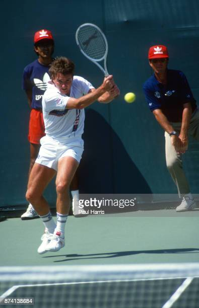 Jimmy Connors tennis player plays a match at the Miami Florida tennis tournament May 17 1988 in Miami Florida