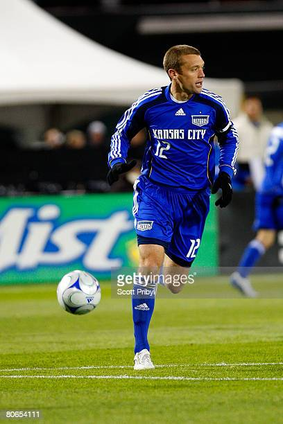 Jimmy Conrad of the Kansas City Wizards dribbles the ball against the Houston Dynamo during the game at Community America Ballpark on April 12 2008...