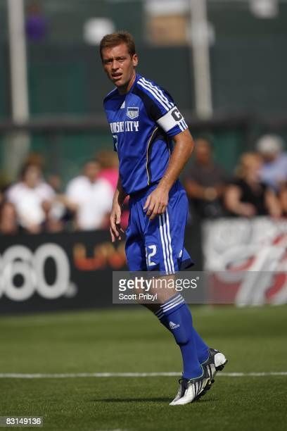 Jimmy Conrad of the Kansas City Wizards gets in position against the Chicago Fire during the game at Community America Ballpark on October 5 2008 in...
