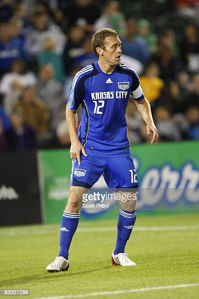 Jimmy Conrad of the Kansas City Wizards gets in the position against the San Jose Earthquakes during the game at Community America Ballpark on...