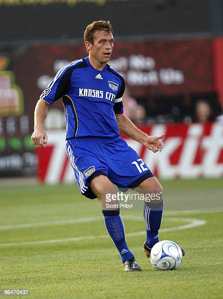 Jimmy Conrad of the Kansas City Wizards passes the ball against D.C. United during the game at Community America Ballpark on May 6, 2009 in Kansas...