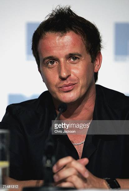 Jimmy Constable, member of the New MTV program 'Totally Boyband', talks at an MTV press conference to introduce the new band, July 19, 2006 in...