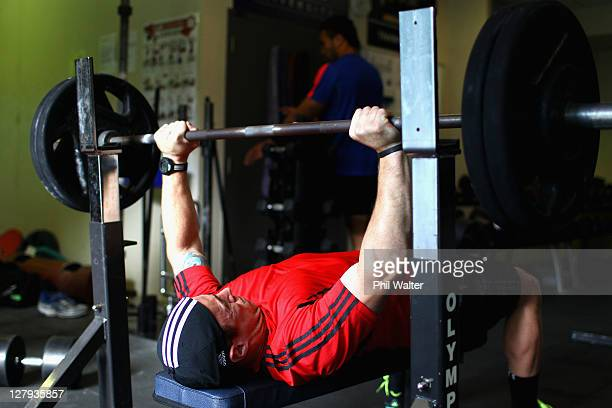 Jimmy Cowan of the All Blacks lifts weights during a New Zealand IRB Rugby World Cup 2011 gym session at the AUT North Shore Campus on October 4 2011...