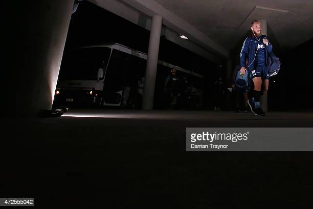 Jimmy Cowan of the Blues arrives before the round 13 Super Rugby match between the Rebels and the Blues at AAMI Park on May 8, 2015 in Melbourne,...