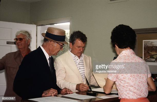 Jimmy Demaret Ben Hogan and Jack Burke Jr converge on the Clubhouse during the 1978 Masters Tournament at Augusta National Golf Club in April 1978 in...