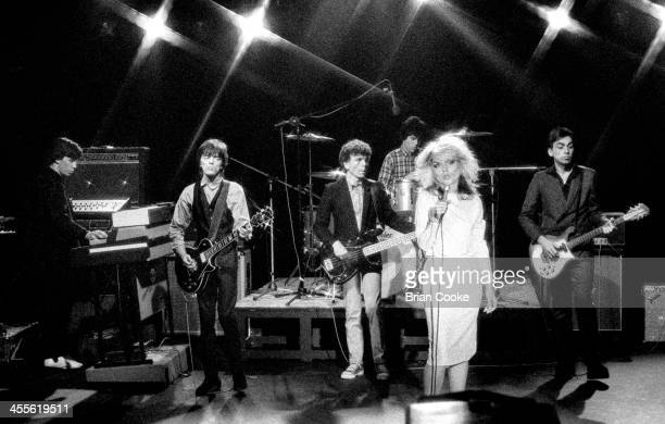 Jimmy Destri Frank Infante Nigel Harrison Clem Burke Debbie Harry and Chris Stein of Blondie playing during the recording of a pop promo for their...