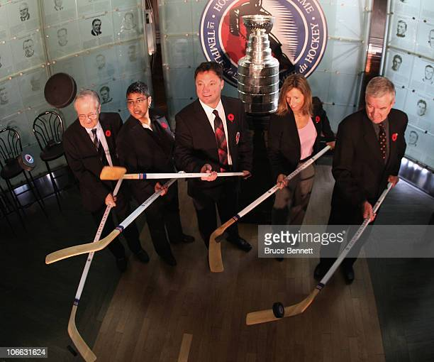 Jimmy Devellano Angela James, Dino Ciccarelli, Cammi Granato, and Bob Seaman , appear at a media opportunity prior to their induction ceremony to the...
