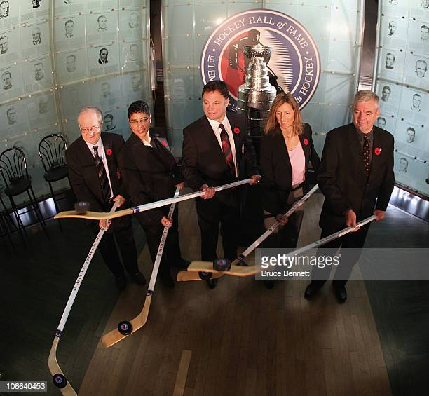 Jimmy Devellano, Angela James, Dino Ciccarelli, Cammi Granato, and Bob Seaman , appear at a media opportunity prior to their induction ceremony to...
