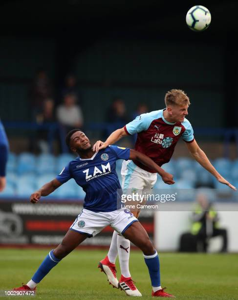 Jimmy Dunn of Burnley and Scott wilson of Macclesfield Town during the PreSeason Friendly between Macclesfield Town and Burnley at Moss Rose on July...