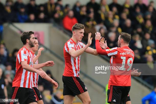 Jimmy Dunne of Sunderland celebrates scoring his side's first goal with Aiden McGeady of Sunderland during the Sky Bet League 1 match between Oxford...