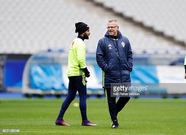 Jimmy Durmaz of Sweden and Janne Andersson, head coach of Sweden during the FIFA 2018 World Cup Qualifier between France and Sweden at Stade de...