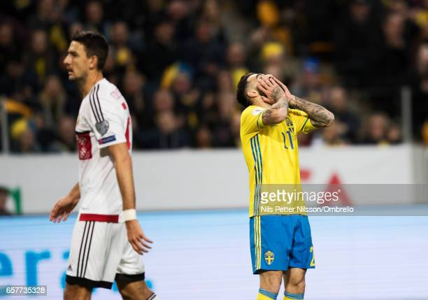 Jimmy Durmaz of Sweden dejected during the FIFA 2018 World Cup Qualifier between Sweden and Belarus at Friends arena on March 25, 2017 in Solna, .