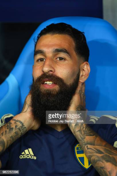 Jimmy Durmaz of Sweden looks on from the bench prior to the 2018 FIFA World Cup Russia group F match between Germany and Sweden at Fisht Stadium on...