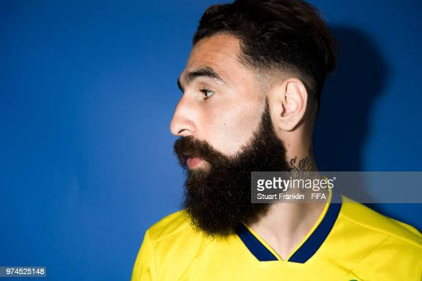 Jimmy Durmaz of Sweden poses for a photograph during the official FIFA World Cup 2018 portrait session at on June 13, 2018 in Gelendzhik, Russia.