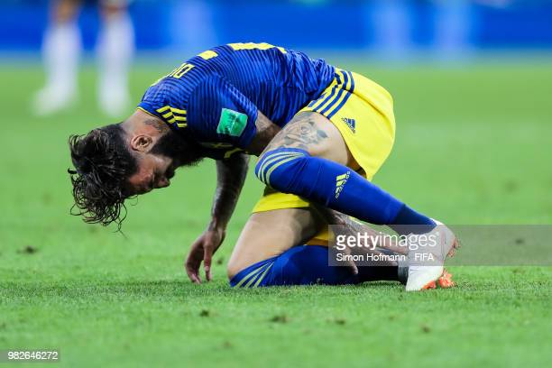 Jimmy Durmaz of Sweden reacts during the 2018 FIFA World Cup Russia group F match between Germany and Sweden at Fisht Stadium on June 23, 2018 in...