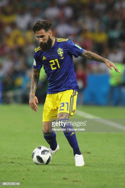 Jimmy Durmaz of Sweden runs with the ball during the 2018 FIFA World Cup Russia group F match between Germany and Sweden at Fisht Stadium on June 23,...