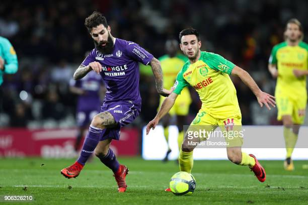 Jimmy Durmaz of Toulouse and Adrien Thomasson of Nantes during the Ligue 1 match between Toulouse and Nantes at Stadium Municipal on January 17 2018...