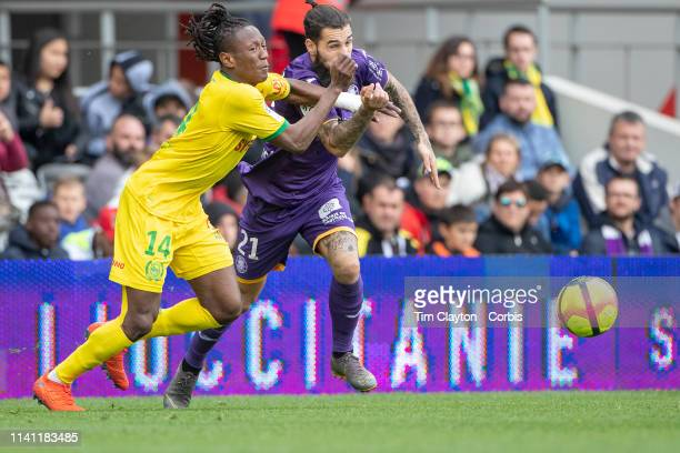 April 7: Jimmy Durmaz of Toulouse defended by Charles Traore of Nantes during the Toulouse FC V FC Nantes, French Ligue 1 regular season match at the...