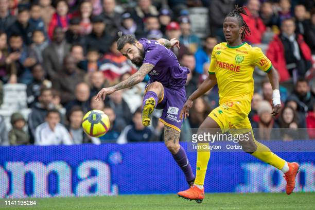 April 7: Jimmy Durmaz of Toulouse gets in a cross while defended by Charles Traore of Nantes during the Toulouse FC V FC Nantes, French Ligue 1...