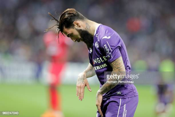 Jimmy Durmaz of Toulouse reacts during the Ligue 1 match between Toulouse and EA Guingamp at Stadium Municipal on May 19 2018 in Toulouse