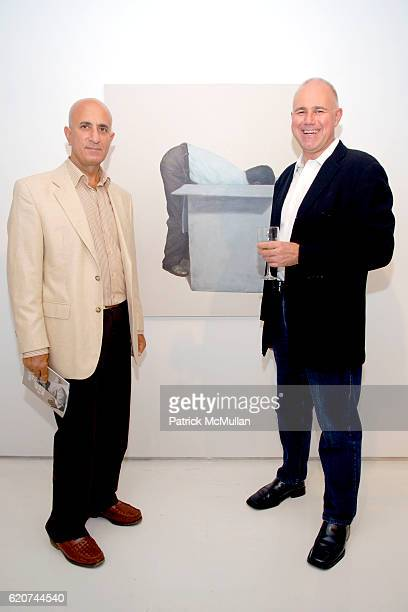 Jimmy Ezra and Simon Watson attend SLAG GALLERY Opening for MIRCEA SUCIU 'How Deep the Rabbit Hole Goes' at Slag Gallery on July 24 2008 in New York...