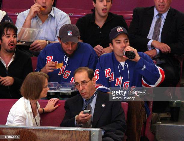 Jimmy Fallon and guest attend NY Rangers vs Florida Panthers game at Madison Square Garden in New York City on October 4 2007