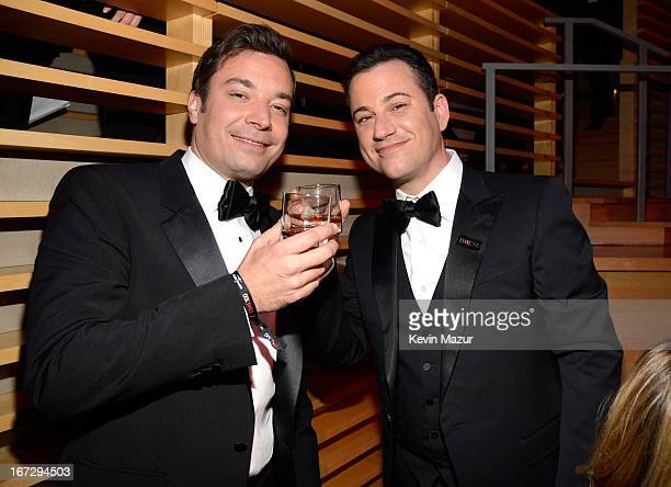 Jimmy Fallon and Jimmy Kimmel attend TIME 100 Gala, TIME'S 100 Most Influential People In The World at Jazz at Lincoln Center on April 23, 2013 in...